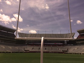 Standing under the goal post at the end of the team's tunnel!
